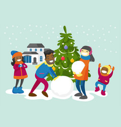 Multiracial family making a snowman in the yard vector