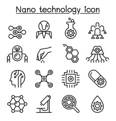 Nanotechnology icon set in thin line style vector