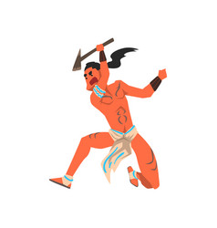 native american indian warrior with axe tribe vector image