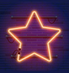 neon lamp star frame on brick wall background vector image