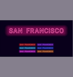 neon name of san francisco city vector image