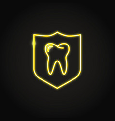 Neon teeth protection icon in line style vector