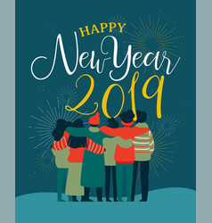 New year 2019 friend people group greeting card vector
