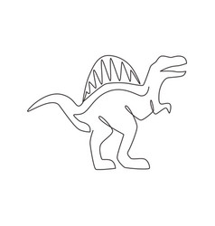 one single line drawing wild spinosaurus for vector image