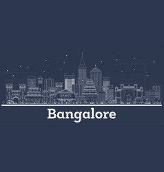 outline bangalore india city skyline with white vector image