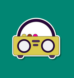 Paper sticker on background of tape recorder vector