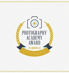 Photography logo design template retro badge vector
