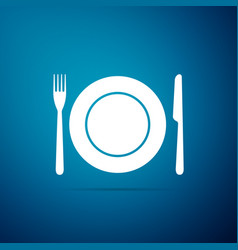 plate fork and knife icon cutlery symbol vector image
