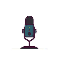 podcast microphone line style vector image