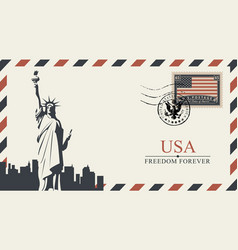 postcard with new york statue of liberty vector image