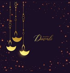 premium golden hanging diya with sparkles vector image
