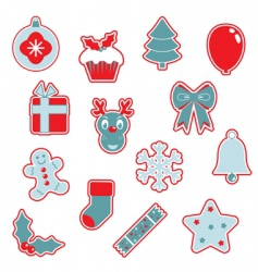 red and blue Christmas icons vector image
