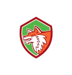 Red Fox Head Pouncing Shield Retro vector