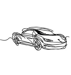 Roadster cabriolet continuous line drawing vector