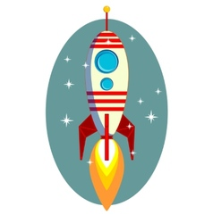 Rocket Space Ship On Blue Background vector image