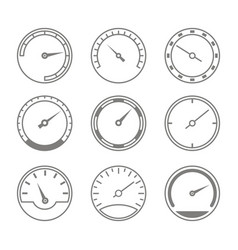 set of monochrome icons with speedometers vector image
