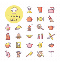 set of pixel-perfect colorful kitchen icons vector image