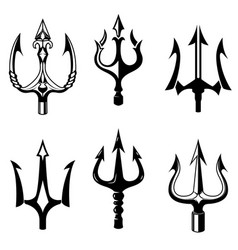 Set of trident icons isolated on white background vector