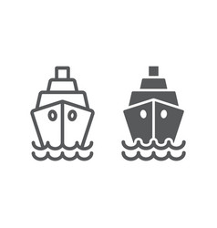 ship line and glyph icon cruise and sail boat vector image