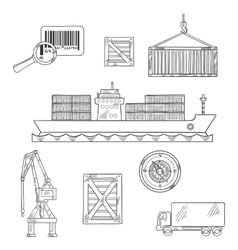 Shipping and marine freight icons vector image
