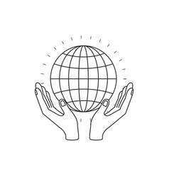 Silhouette hands with floating globe chart charity vector