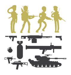 silhouettes of military soldiers ammunition guns vector image