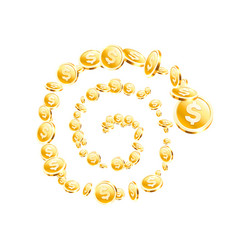 Spiral many flying coins on white background vector