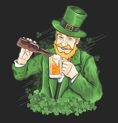 st patrick s day beer party green shamrock vector image