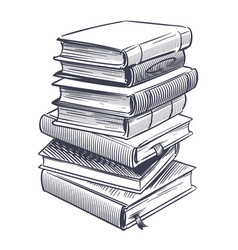 Stack books sketch drawings engrave pile vector