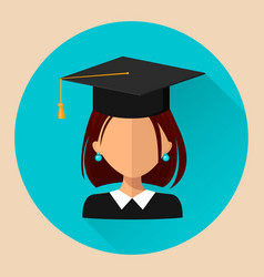 Student girl flat style beautiful icon avatar eps vector