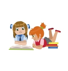 Teo Girls Reading One Book vector image