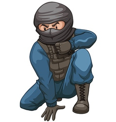Terrorist wearing black mask vector