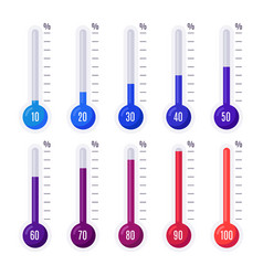 Thermometers with different temperatures goal vector