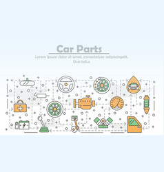 thin line art car parts poster banner vector image