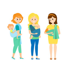 Three mothers with children in slings vector