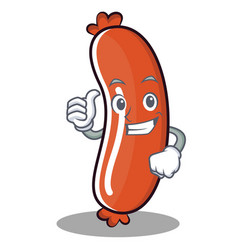 Thumbs up sausage character cartoon style vector