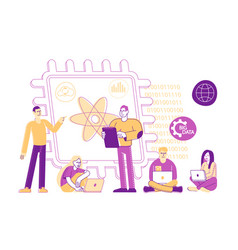 Tiny male and female characters engineers vector