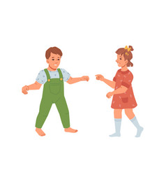 toddlers boy and girl walking and exploring world vector image