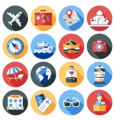 Travel Icon Flat Set vector