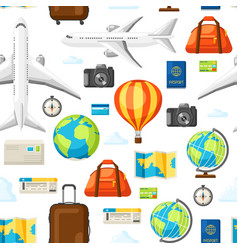 travel seamless pattern traveling background with vector image