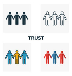Trust icon set four elements in diferent styles vector