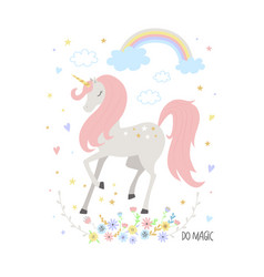 Unicorn cute for kids vector