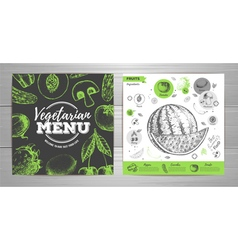Vintage vegetarian menu design Fresh fruit sketch vector image