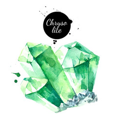Watercolor hand drawn chrysolite gemstone crystal vector