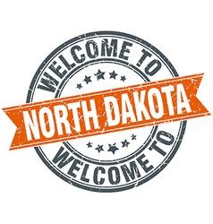 Welcome to North Dakota orange round ribbon stamp vector