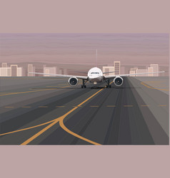 White passenger airplane on the airport runway vector