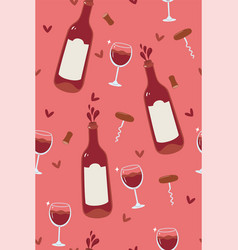 wine seamless pattern with bottles and glasses vector image