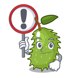 with sign cartoon soursop fruit in the market vector image