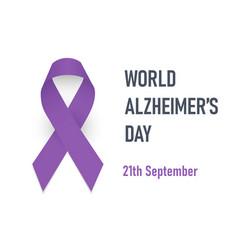 World alzheimer day purple awareness ribbon vector