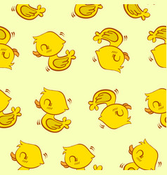 yellow duck pattern style collection vector image